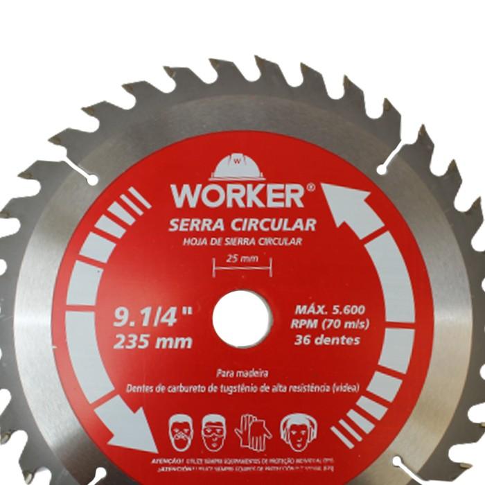DISCO PARA SERRA CIRCULAR 9.1/4 36 DENTES WORKER