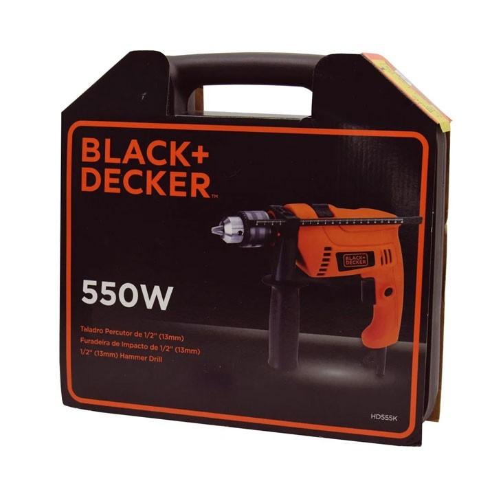 """FURADEIRA DE IMPACTO 1/2"""" 550W COM MALETA HD555K BLACK+DECKER"""