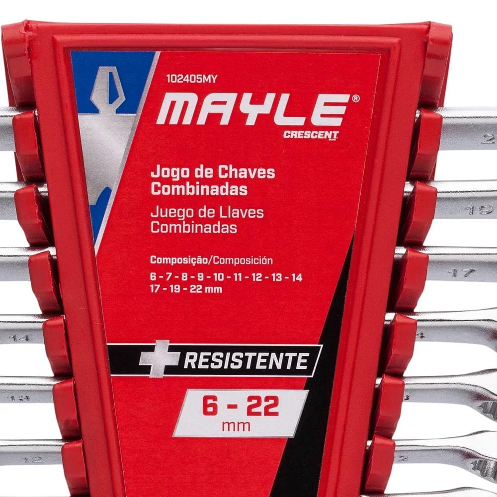 JOGO DE CHAVES COMBINADAS 6MM A 22MM COM 12 PEÇAS MAYLE