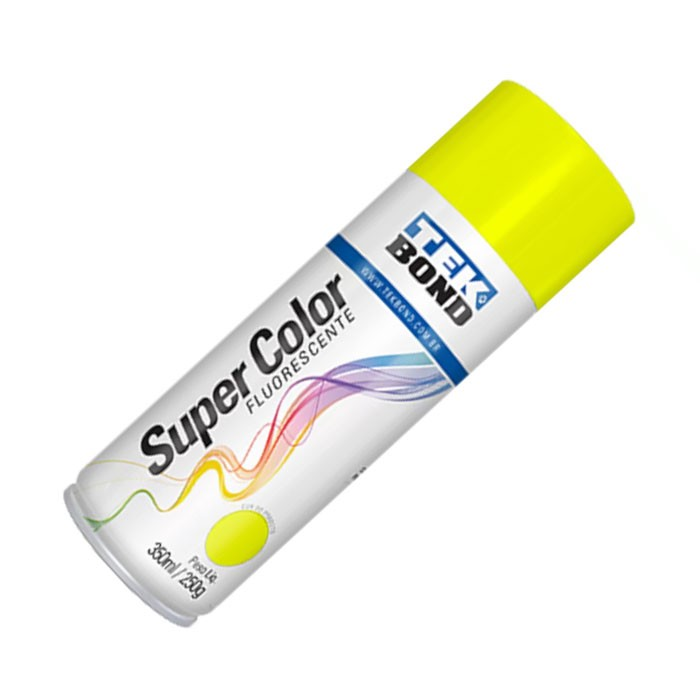 SPRAY SUPER COLOR FLUORESCENTE AMARELO 350 ML / 250 G TEKBOND