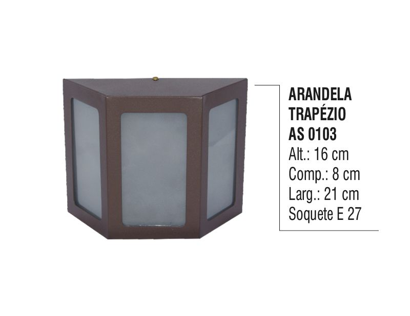 Arandela Externa Interna Trapézio de Parede Alumínio e Vidro