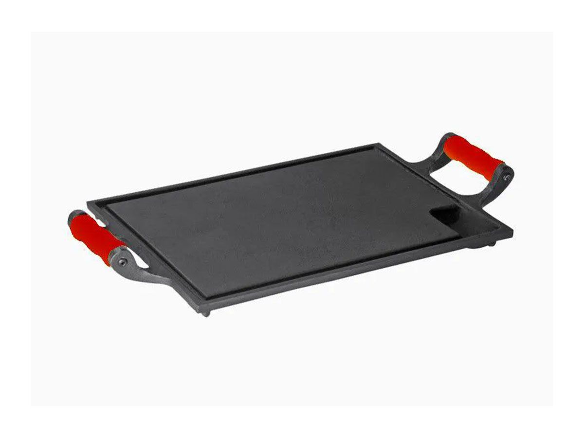 Bifeteira Chapa Ferro Alça Silicone Vermelha 25x35 Cm