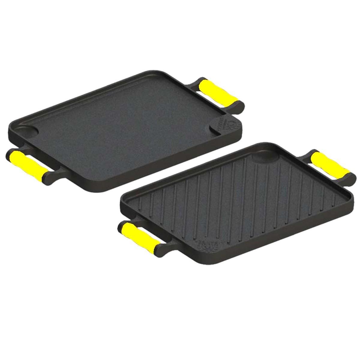 Bifeteira dupla face com alças de silicone Amarelo 23X28cm