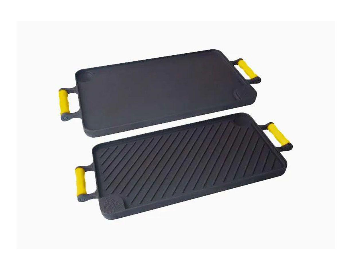 Bifeteira Dupla Face Ferro Alça Silicone Amarela 26x48 Cm