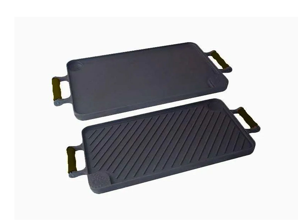Bifeteira Dupla Face Ferro Alça Silicone Preta 26x48 Cm