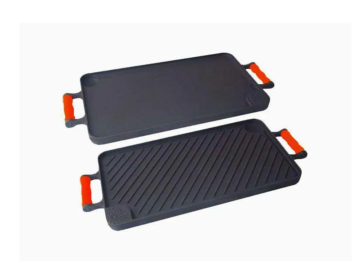 Bifeteira Dupla Face Ferro Alça Silicone Vermelha 26x48 Cm
