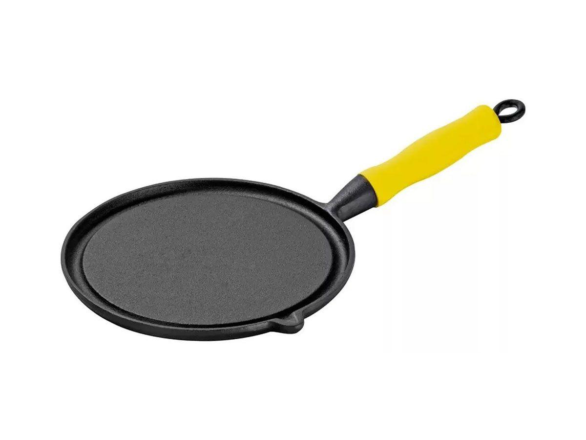 Bifeteira Ferro Redonda Cabo Silicone Amarelo Lisa 26cm
