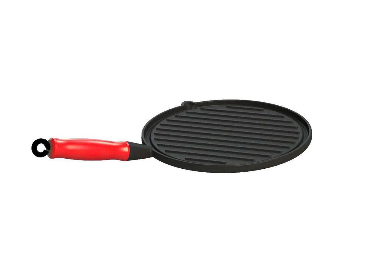 Bifeteira Ferro Redonda Cabo SIlicone Vermelho Estriada 26cm