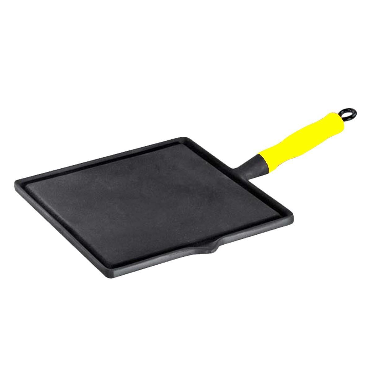 Bifeteira quadrada lisa com cabo de silicone Amarelo 26x26cm