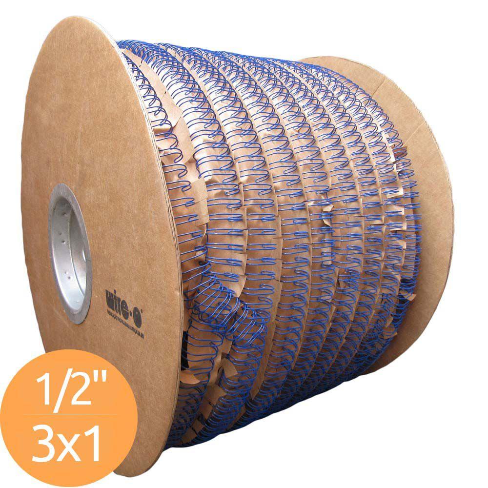 Bobina de Garras de Duplo Anel Wire-o 3x1 1/2 100 Folhas Cor Azul