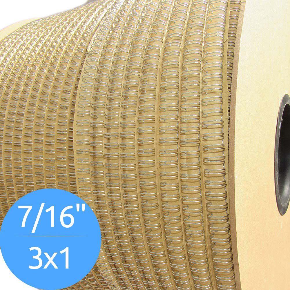 Bobina de Garras de Duplo Anel Wire-o 3x1 7/16 90 Folhas Cor Prata