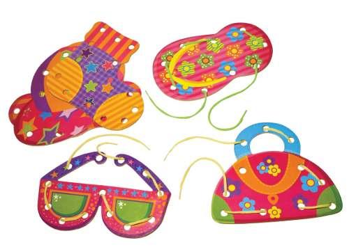 Brinquedo Pedagógico Alinhavos Objetos Peças Mdf 06 Unidade