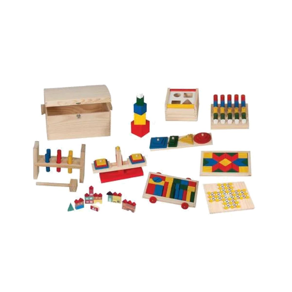 Brinquedos de Madeira - Baú Educativo 10 Brinquedos