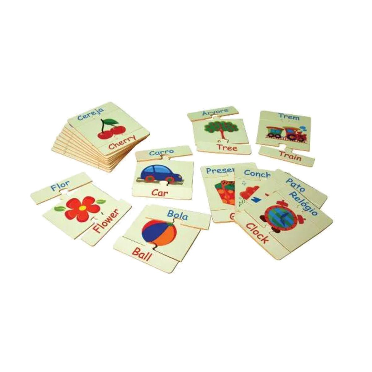 Brinquedos Educativos - Alfabeto Ilustrado em Inglês 54 Peça