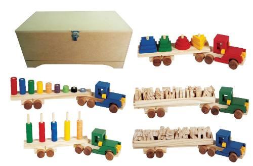 Brinquedos Educativos - Baú Carreta Didáticas 5 Carretas