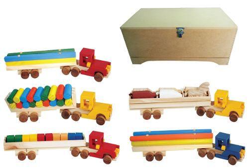 Brinquedos Educativos - Baú Carreta Lúdicas 5 Carretas
