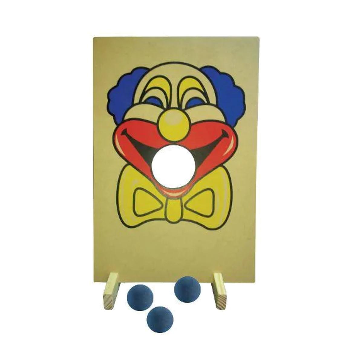 Brinquedos Educativos - Jogo Palhaço Bocão 52x35cm 3 Bolas