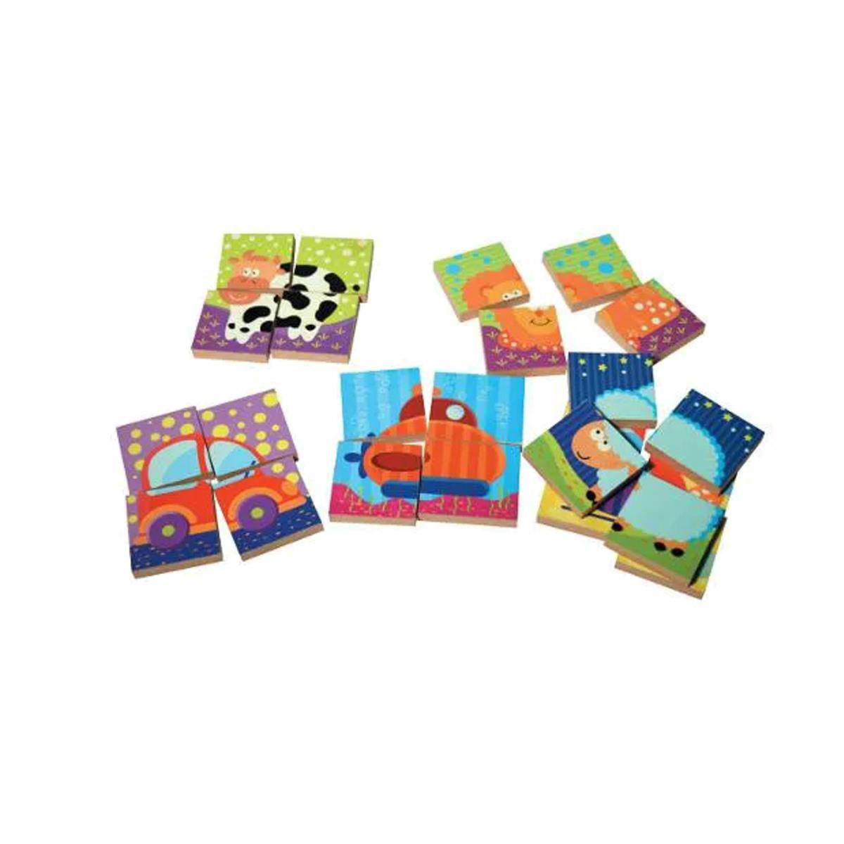Brinquedos Educativos - Quebra Cabeça Blocos 24 Peças