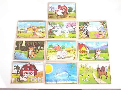 Brinquedos Educativos - Quebra Cabeça de Animais 10 Peças
