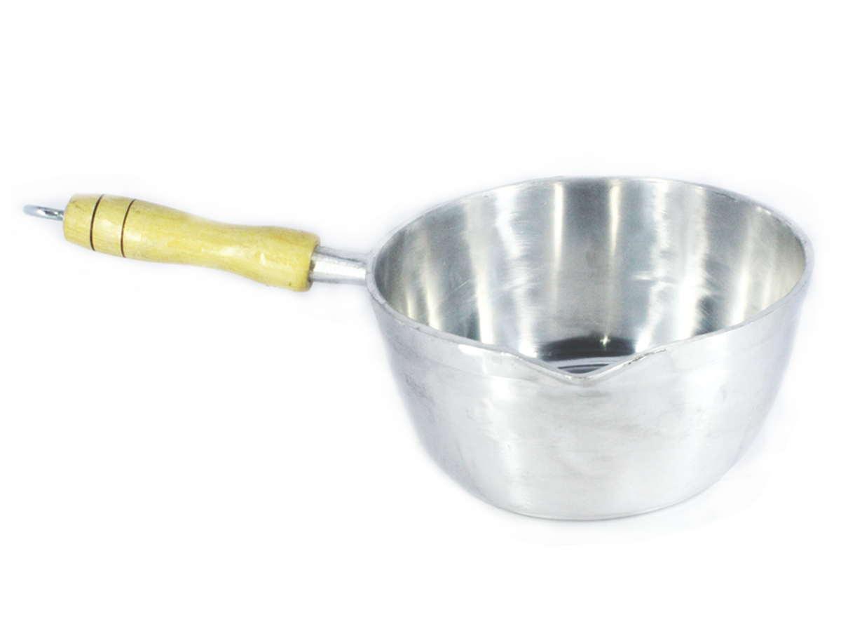 Caçarola Alumínio Polido Japi Cabo Madeira Sem Tampa 14cm