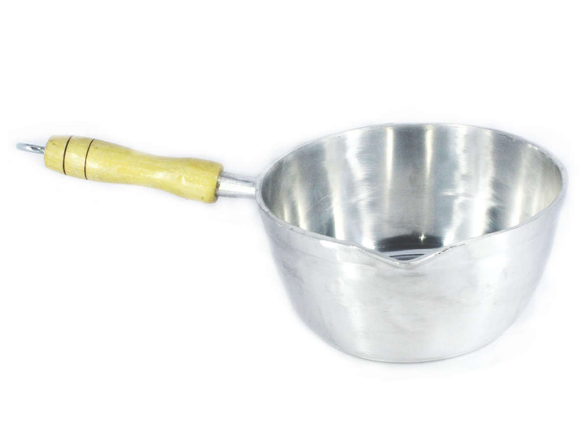 Caçarola Alumínio Polido Japi Cabo Madeira Sem Tampa 18cm