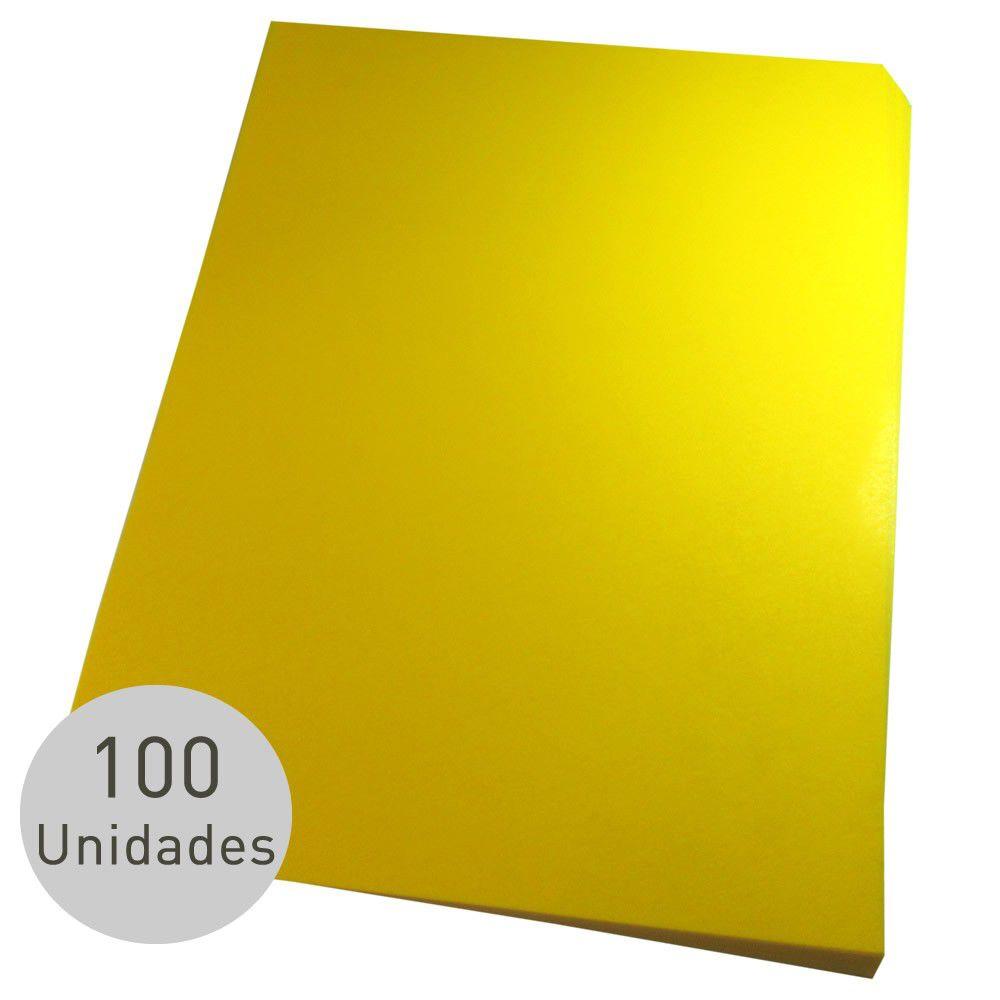 Capa para encadernação A3 Amarela PP Couro 0,30mm 100un
