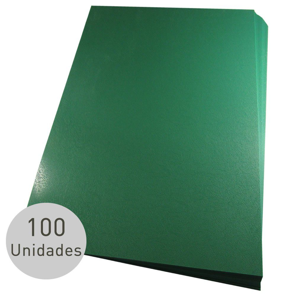 Capa para encadernação A3 Verde PP Couro 0,30mm 100un