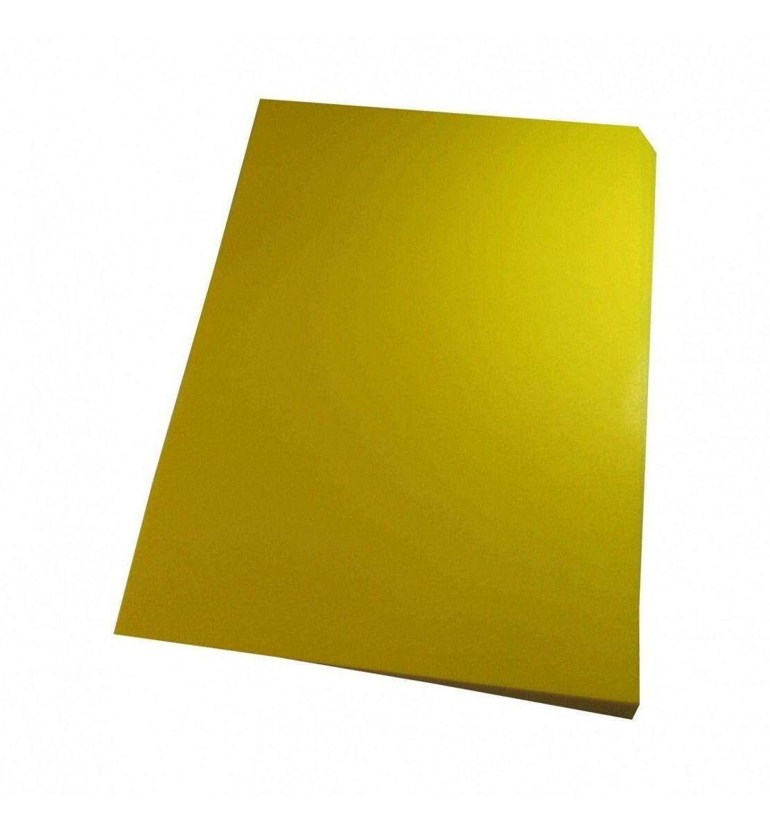 Capa para encadernação A4 Amarela PP Couro 0,30mm 100un