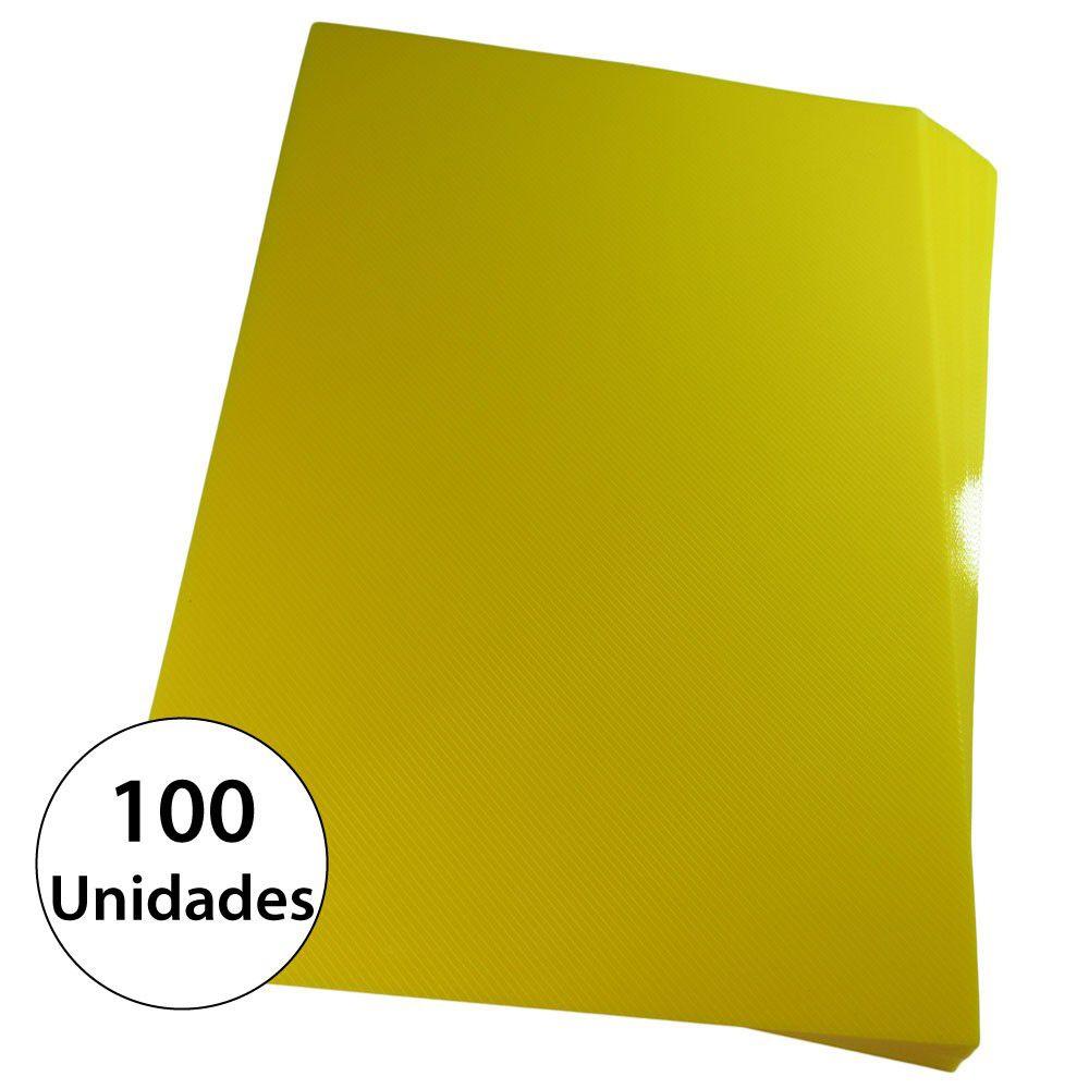 Capa para encadernação Ofício Amarela PP Line 0,30mm 100un
