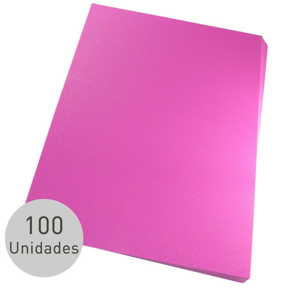 Capa para encadernação Ofício Rosa PP Couro 0,30mm 100un