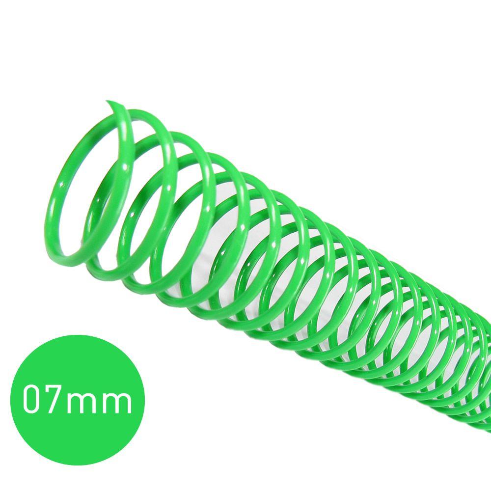 Espiral para Encadernação Verde 7mm 25 Folhas 100 und