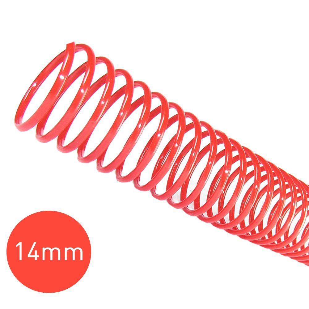 Espiral para Encadernação Vermelho 14mm 85 Folhas 100 und