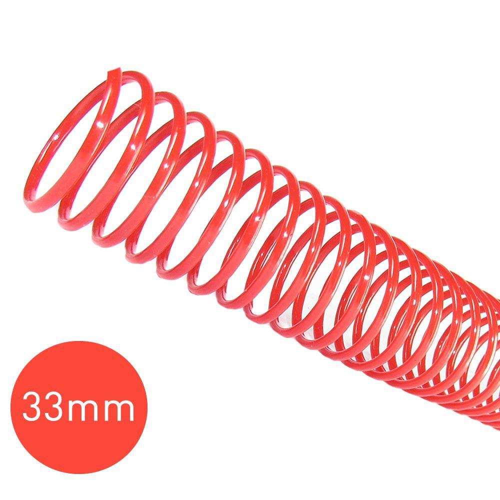 Espiral para Encadernação Vermelho 33mm 250 Folhas 25 und