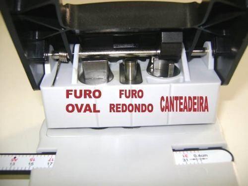 Furador Crachá Multifuncional 3x1 Oval Redondo e Canteadeira