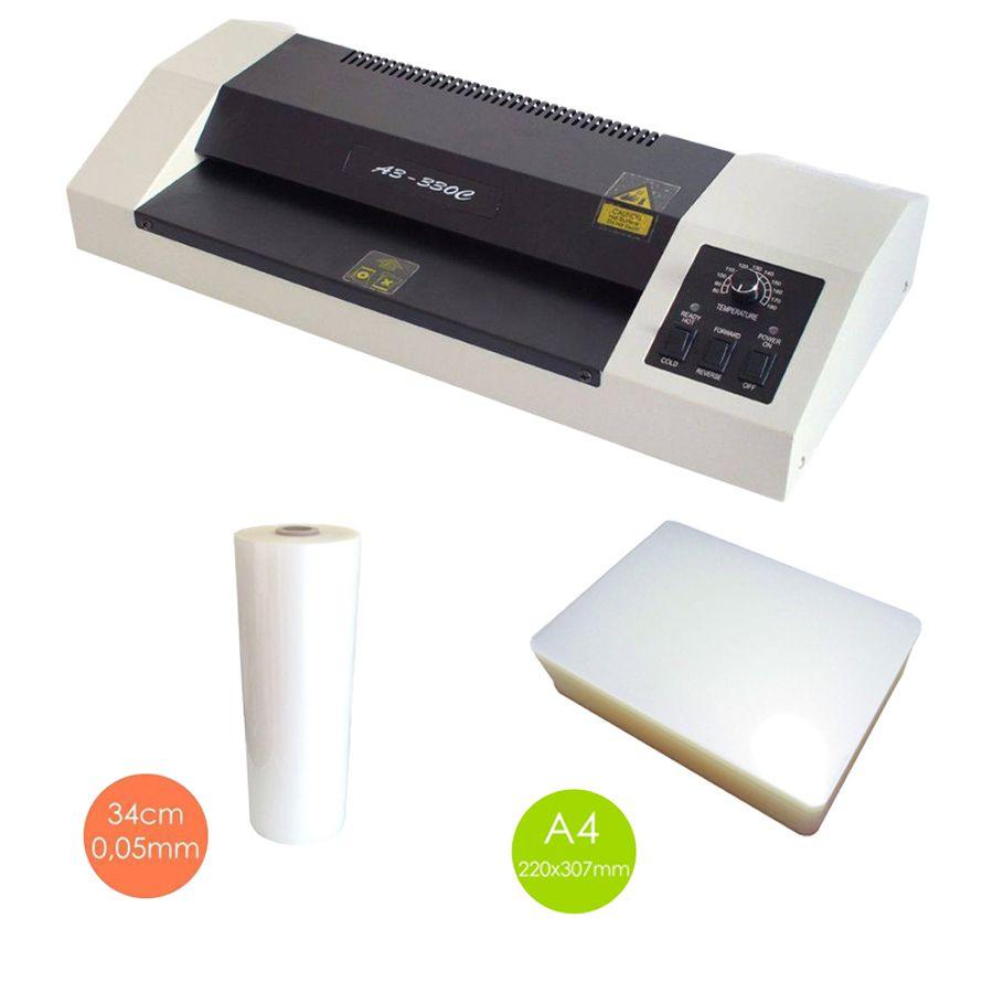 kit Plastificadora A3, 500 Polaseal A4 e bobina BOPP