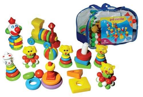 Peças de Montar Kit Pré Escolar - 10 Brinquedos