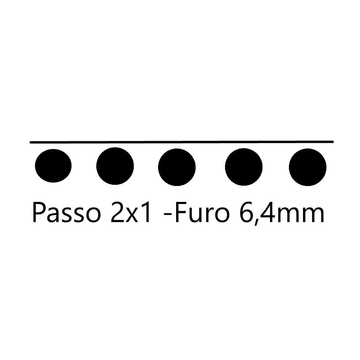 Pente para Encadernadora El20 - 2x1 Furo Redondo 6.4mm