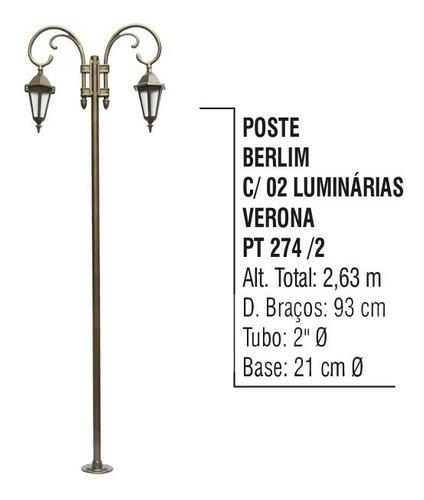 Poste Berlim Jardim De Alumínio 02 Luminárias Verona 2,63m