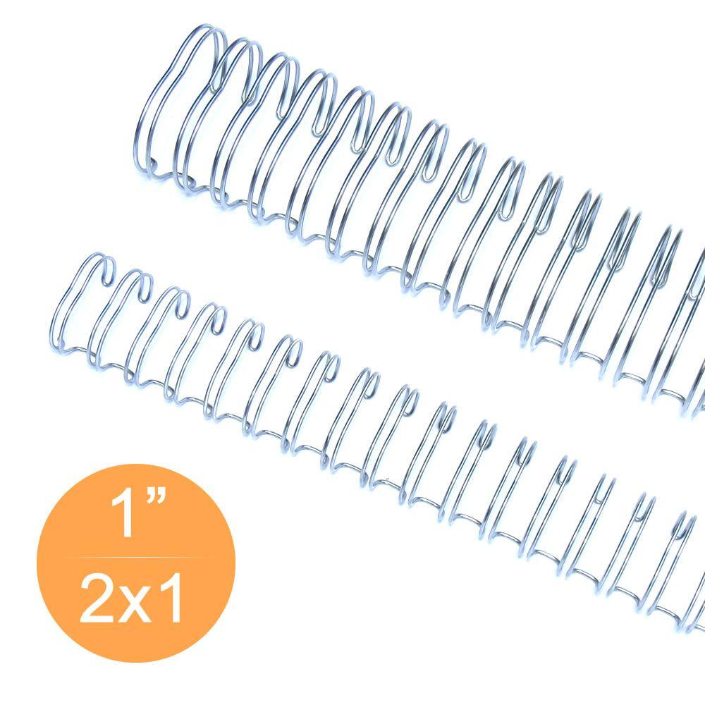 """Wire-o Garra Duplo Anel 1"""" para 200 fls A4 2x1 Prata(Silver) 50 und"""