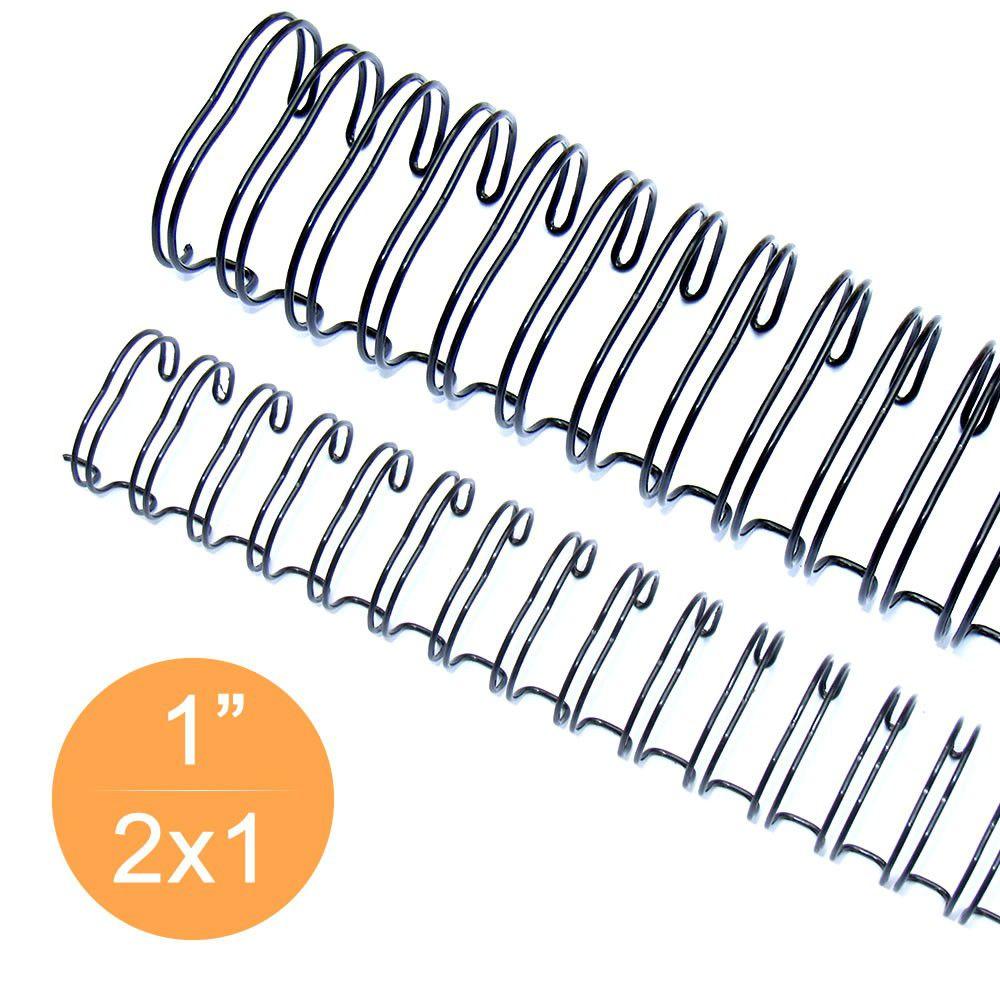 """Wire-o Garra Duplo Anel 1"""" para 200 fls Carta 2x1 Preto 50 und"""