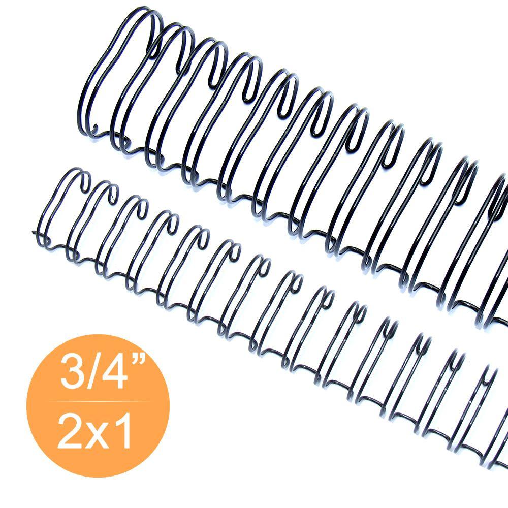 "Wire-o Garra Duplo Anel 3/4"" para 140 fls Ofício 2x1 Preto 50 und"