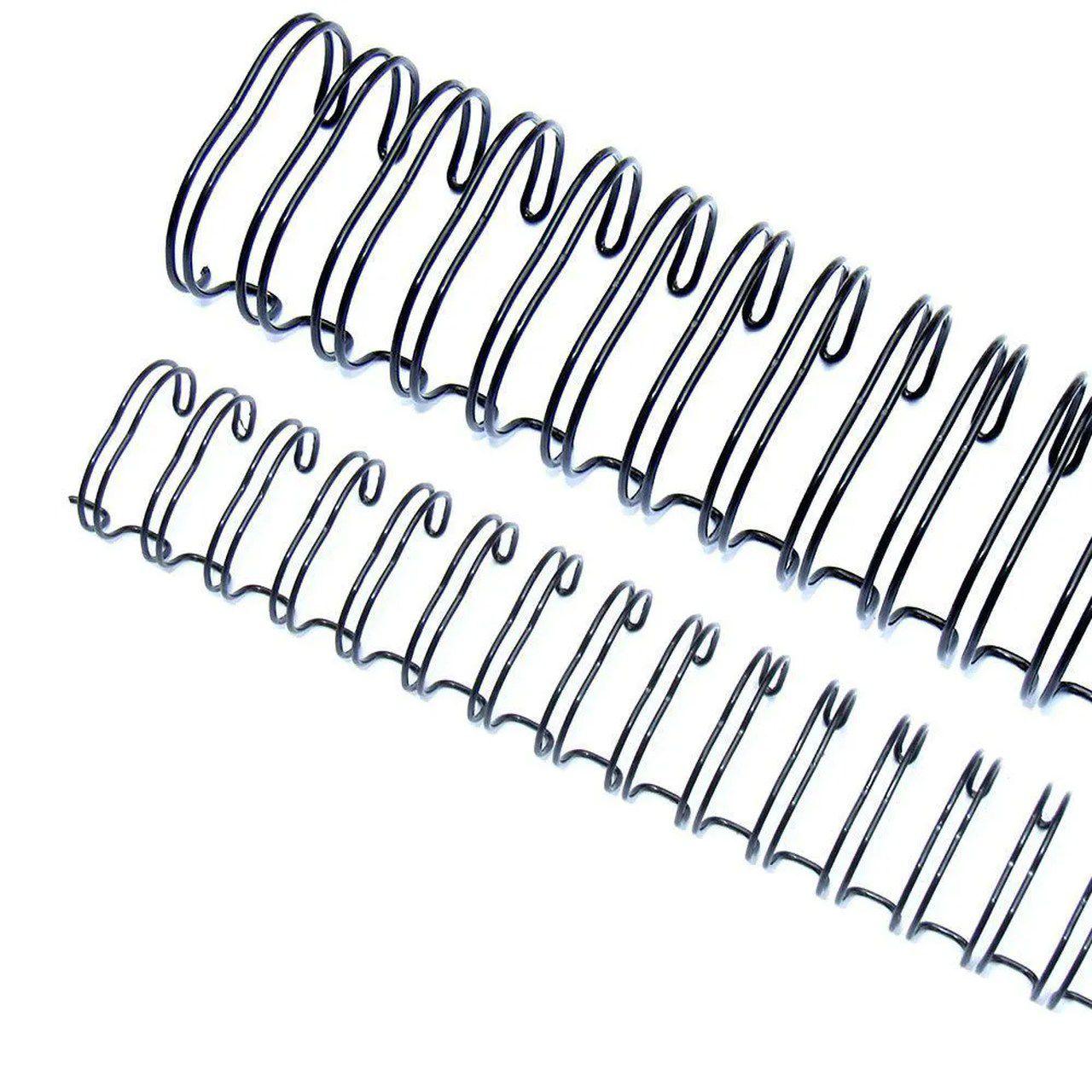 """Wire-o Garra Duplo Anel 3/8"""" para 60 fls A4 3x1 Preto 100 und"""