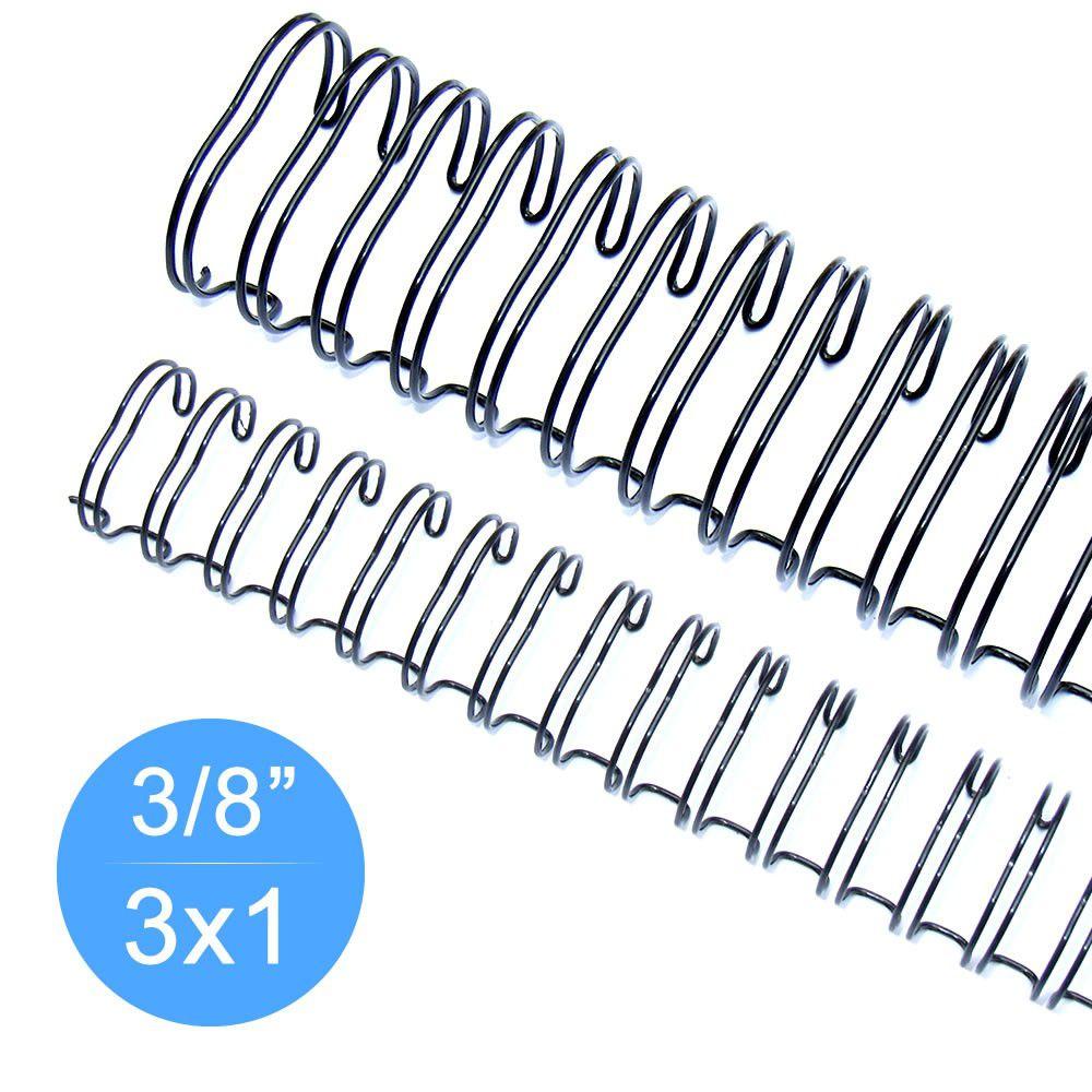"""Wire-o Garra Duplo Anel 3/8"""" para 60 fls Carta 3x1 Preto 100 und"""