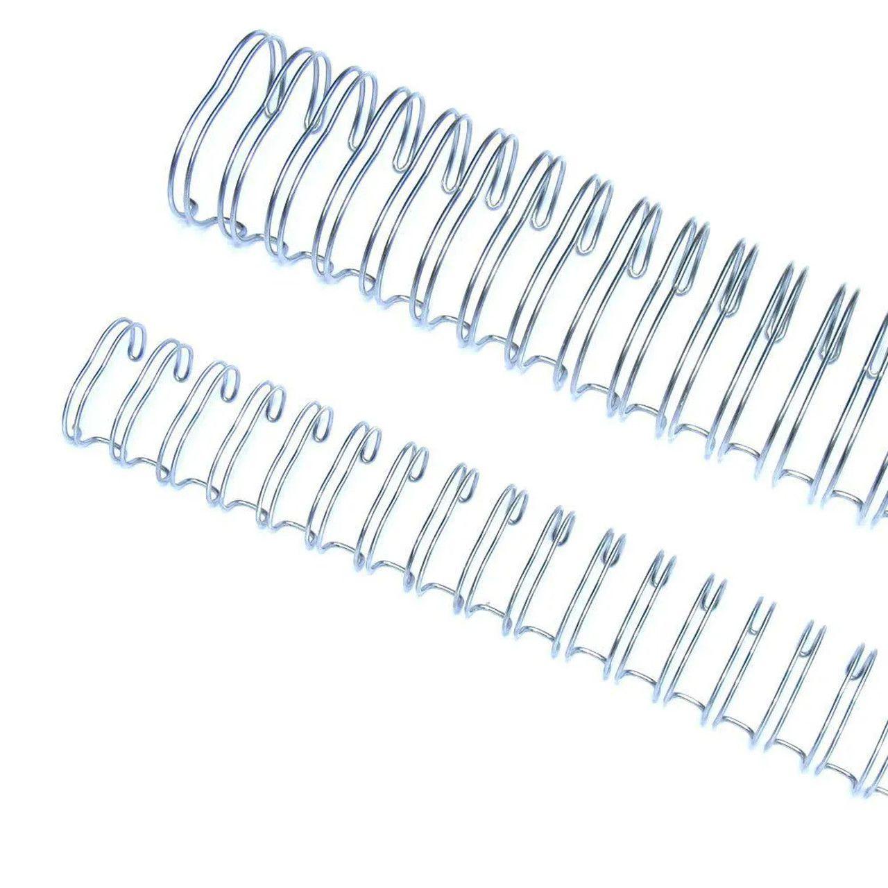 """Wire-o Garra Duplo Anel 3/8"""" para 60 fls Ofício 3x1 Prata(Silver) 100 und"""