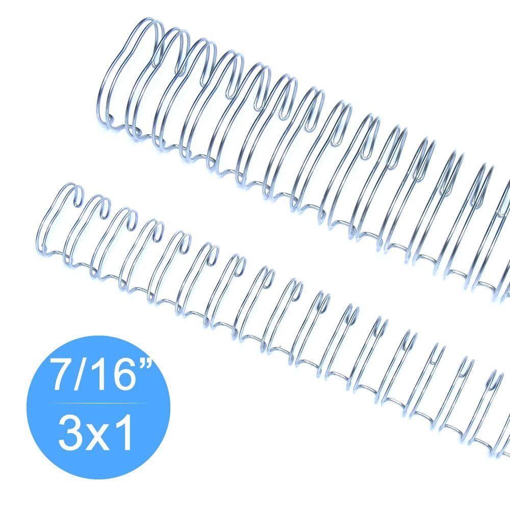 """Wire-o Garra Duplo Anel 7/16"""" para 90 fls Ofício 3x1 Prata(Silver) 100 und"""