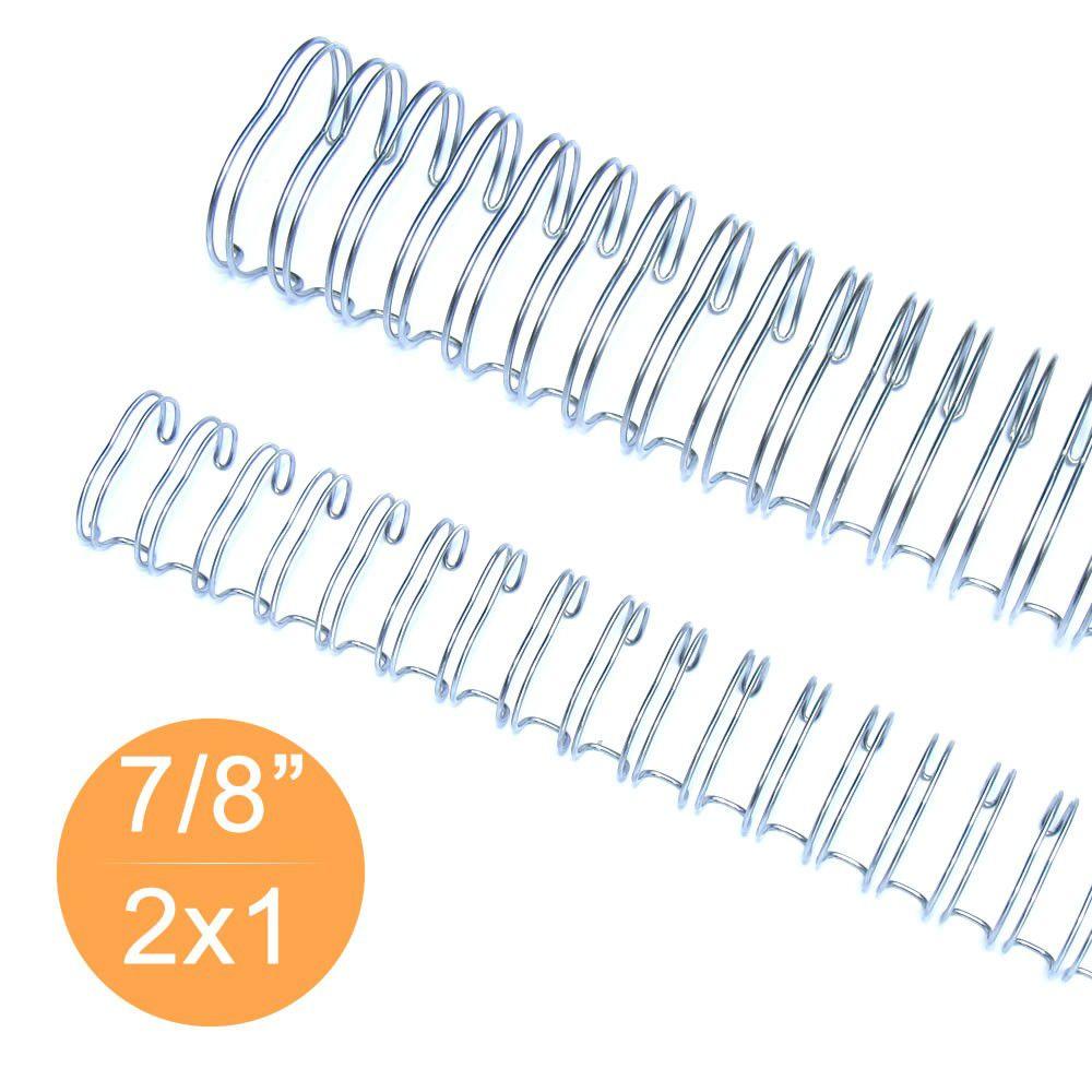 """Wire-o Garra Duplo Anel 7/8"""" para 180 fls Carta 2x1 Prata(Silver) 50 und"""