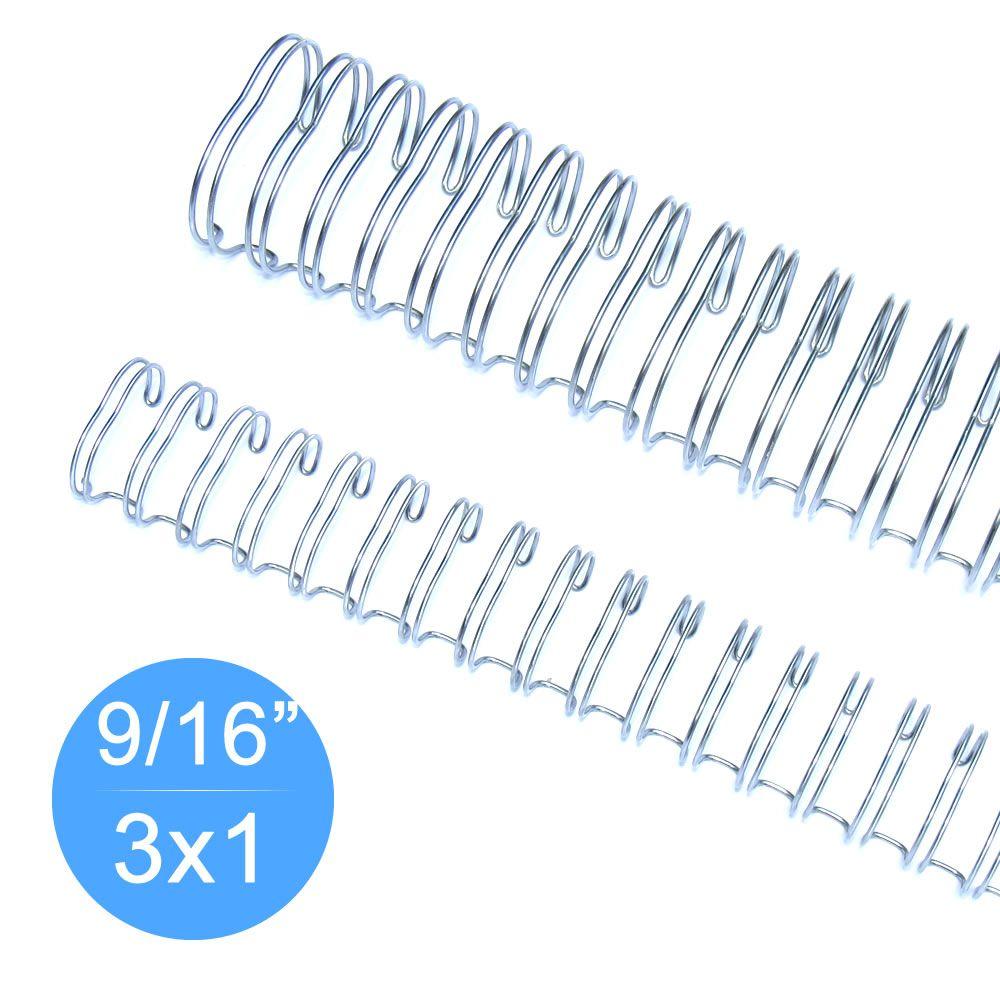 """Wire-o Garra Duplo Anel 9/16"""" para 110 fls Ofício 3x1 Prata(Silver) 100 und"""