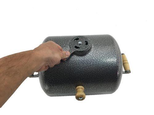 Mini Churrasqueira A Bafo Alumínio Craqueada C/grelha Prata  - Panela de Ferro Fundido
