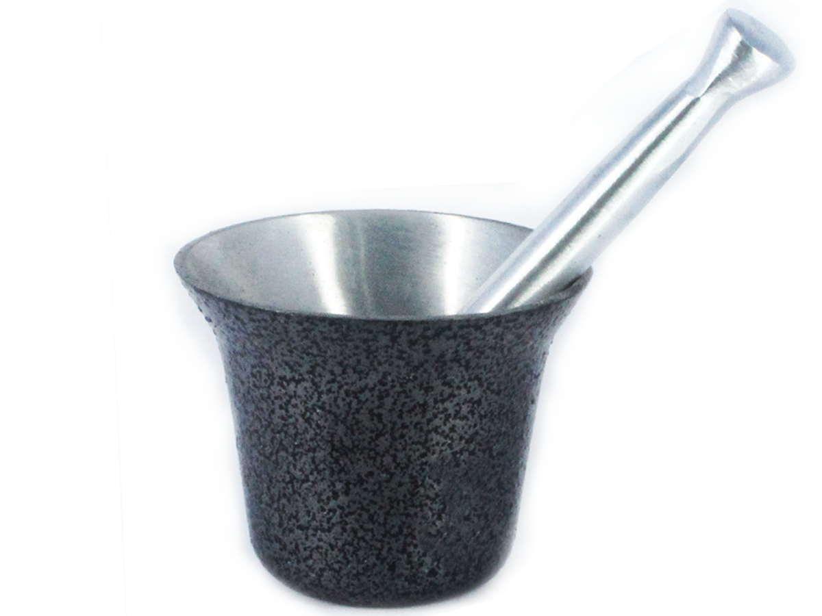 Almofariz Alumínio Polido Craqueado Socador de Alho Médio