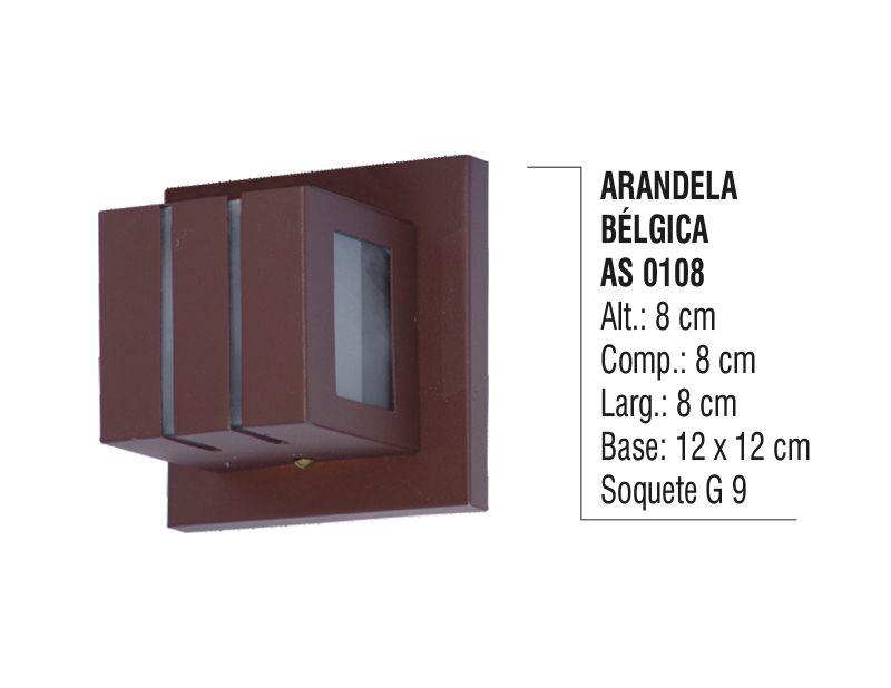 Arandela Externa Interna Bélgica de Parede Alumínio e Vidro  - Panela de Ferro Fundido